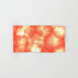 Gentle intersecting orange translucent circles in pastel shades with glow. Hand & Bath Towel