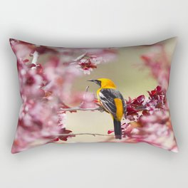 Oriole in Plum Tree Rectangular Pillow