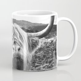 Highland Cow Nose Barbed Wire Fence Black and White Coffee Mug