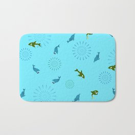 Blue Dolphin and Orca Bath Mat