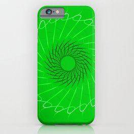 Spirographs blue on a green background. iPhone Case