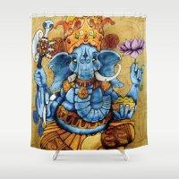 ganesh Shower Curtains featuring Ganesh by RICHMOND ART STUDIO