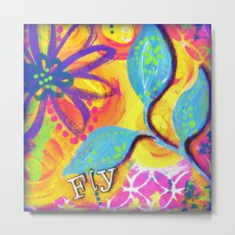 Pink Yellow Light Blue Art, Fly, Inspirational Mixed Media Painting, Flowers, Leaves Metal Print