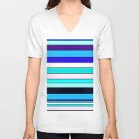 stripe V-neck T-shirts featuring Stripe by Mishu & Casco