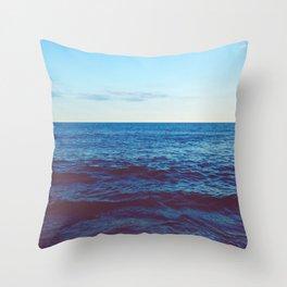 Minimalist Blue Waters Ocean Horizon Landscape Throw Pillow