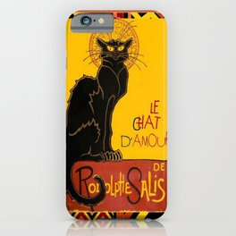 Le Chat Noir D'Amour With Ethnic Border iPhone Case