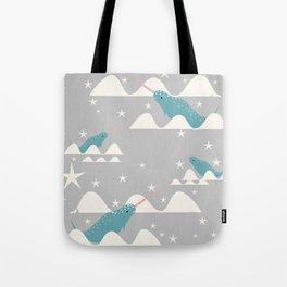 narwhal in ocean grey Tote Bag