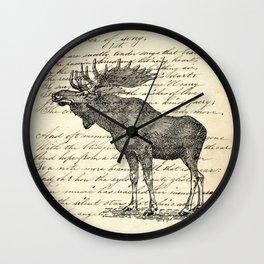 western country primitive winter mountain animal wildlife moose Wall Clock