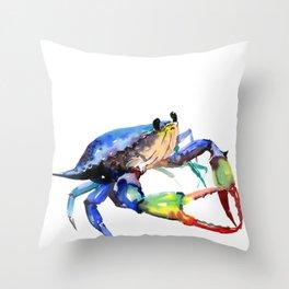 Crab, Sea World Rainbow Colors Beach Throw Pillow