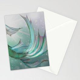 Mermaid, Ocean Sea, Pastel Purple,Teal, Green Stationery Cards