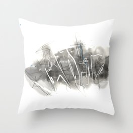Black and White landscape, digital Throw Pillow