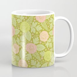 Fresh Spring Flowers - Pink, Peach & Green Floral Pattern Coffee Mug