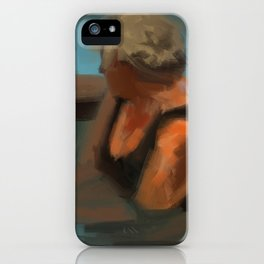 Woman in pool painting iPhone Case