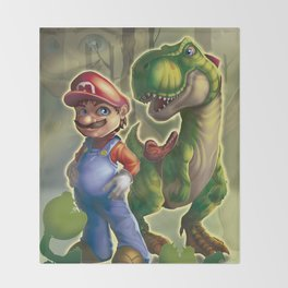 Mario and Yoshi in the real world Throw Blanket