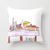 thanksgiving Throw Pillows featuring Thanksgiving Feast by Ryan van Gogh