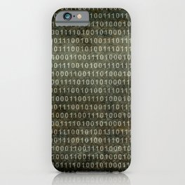 Binary Code with grungy textures iPhone Case