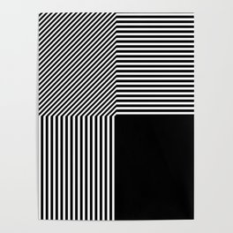 Geometric abstraction, black and white Poster