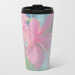 Tender macro shoot of pink hibiscus flowers Travel Mug