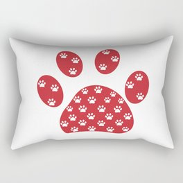 Red paw print with white paw prints with Happy New year text. Merry christmas greeting card  Rectangular Pillow