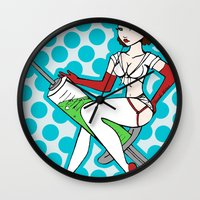 nurse Wall Clocks featuring Hello Nurse by McKenzie Davis