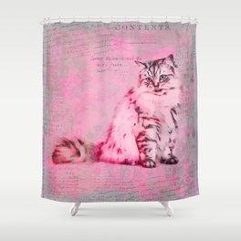 Cute Cat Pink Mixed Media Art Shower Curtain