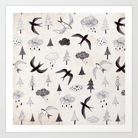 swallow Art Prints featuring swallow by Hui_Yuan-Chang