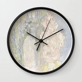 Bluebells and Hollyhocks girdle the earth Wall Clock