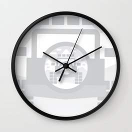 Light Grey digital drawing of a 4x4 adventure vehicle in the mountains Wall Clock