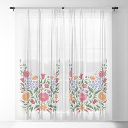 Hungarian folk pattern – Kalocsa embroidery flowers Sheer Curtain