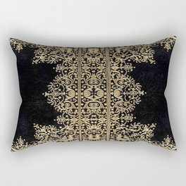 Black and Gold Filigree Rectangular Pillow