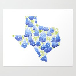 Texas Blue Bonnets Watercolor Art Print