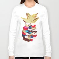 pineapples Long Sleeve T-shirts featuring Twin Pineapples by Lumikka