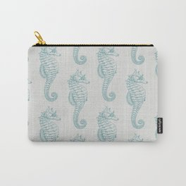 Tropical Seahorses, Seahorse Pattern - Blue Gray Carry-All Pouch