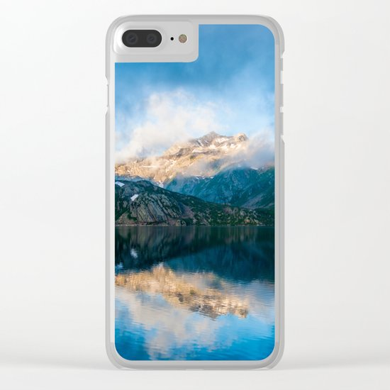 Blue lake reflections Clear iPhone Case