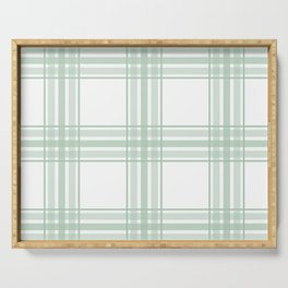 Farmhouse Plaid in Sage Green and White Serving Tray