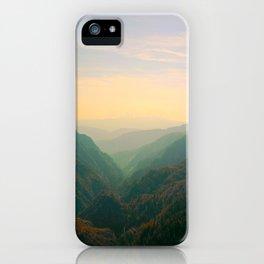 Mountain Valley Parallax Green Yellow Hues Sunset landscape Minimalist Modern Photo iPhone Case