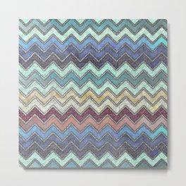 Colorful Silver Chevron Pattern Metal Print