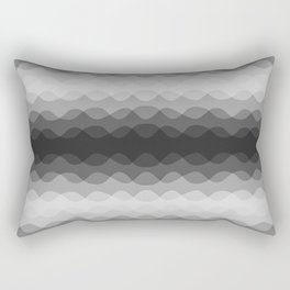Overlapping Wavy Horizontal Lines Light Gray Mid-tone Gray & Dark Gray Pattern Rectangular Pillow
