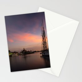 Sailboat moored in Long Beach at sunset Stationery Cards