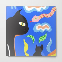 Cats And Snake - Colorful Painting Metal Print