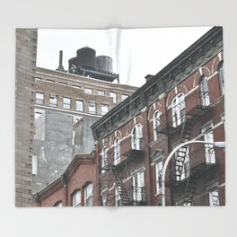 New York City corners, fire escapes, ladders fine art , nyc, America, photo Throw Blanket