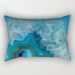 Teal Blue Agate slice Rectangular Pillow
