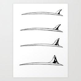 Surfboard fin transformation Art Print