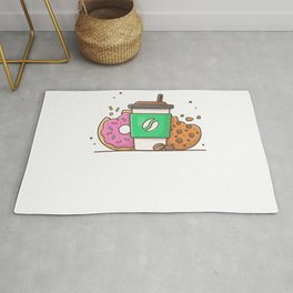 Hot coffee with donut and cookies Rug