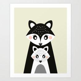 Scandinavian Mother and baby Fox Art Print