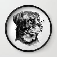 rottweiler Wall Clocks featuring Rottweiler Devotion by Patricia Howitt