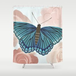 Blue Butterfly and Roses Shower Curtain
