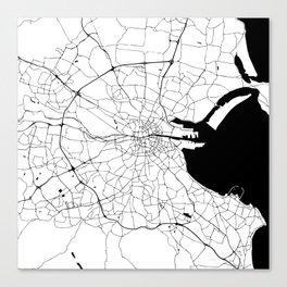 White on Black Dublin Street Map Canvas Print