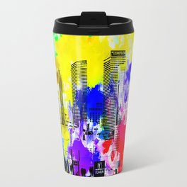 building of the hotel and casino at Las Vegas, USA with blue yellow red green purple painting abstra Travel Mug