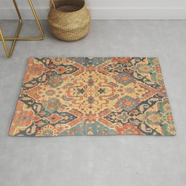 Geometric Leaves IX // 18th Century Distressed Red Blue Green Colorful Ornate Accent Rug Pattern Rug